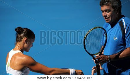 MELBOURNE, AUSTRALIA - JANUARY 16: Dinara Safina (L) of Russia at a practice session ahead of the 2010 Australian Open at Melbourne Park on January 16, 2010 in Melbourne, Australia