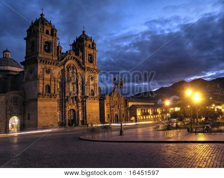 Cathedral in Cusco by night