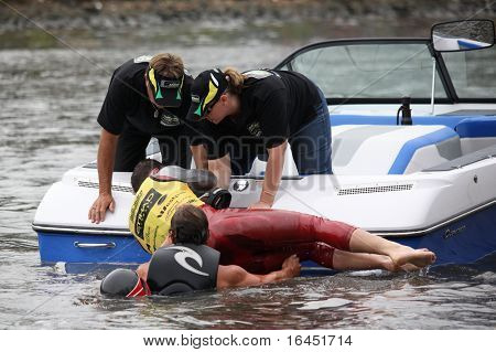 MELBOURNE, AUSTRALIA - MARCH 7: Zach Worden of the USA is helped from the water after a huge crash in the jump event at the Moomba Masters on March 7, 2010 in Melbourne, Australia