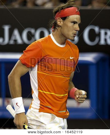 MELBOURNE, AUSTRALIA - JANUARY 22: Rafael Nadal of Spain in his win over Phillipp Kohlschreiber in the 2010 Australian Open at Melbourne Park on January 22, 2010 in Melbourne, Australia