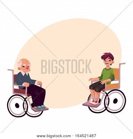 Old man and teenaged boy sitting in wheelchairs, cartoon vector illustration on background with place for text. Disabled old man and school boy sitting in wheelchairs, living with disability concept