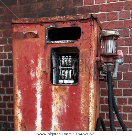 Rusted old gas pump