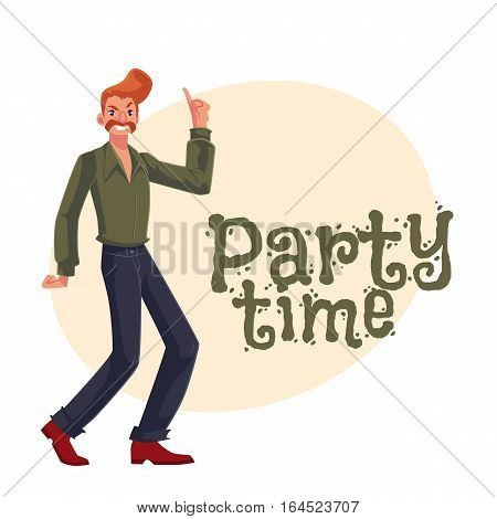 Red haired man in 1970s style clothes with beehive hair style dancing disco, cartoon style invitation, greeting card design. Party invitation, advertisement, Young man with beehive red hair dancing