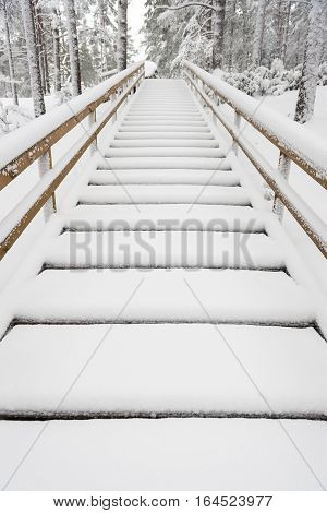 Tourist Boardwalk With Foot Tracks On Winter Road