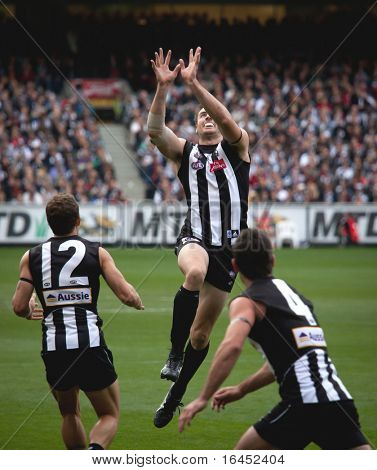 MELBOURNE - APRIL 25: Collingwood's Darren Jolly (C) taps the ball to Luke Ball (L) while Alan Didak watches during Collingwood's massive win over Essendon - April 25, 2010 in Melbourne, Australia.