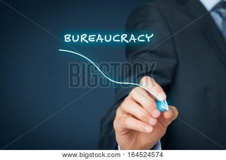 Bureaucracy reduction concept. Businessman draw graph with bureaucracy reduction.