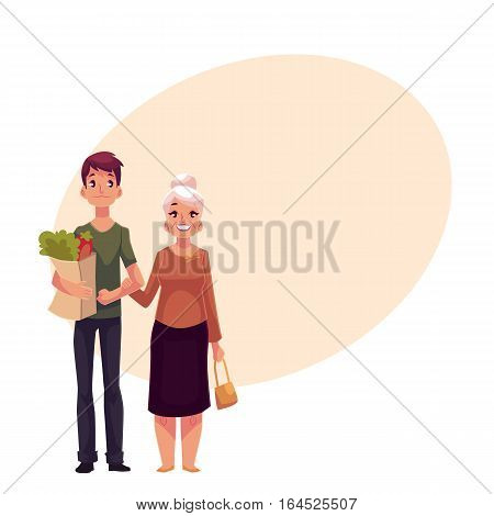 Young man helping grandmother with shopping, cartoon vector illustration on background with place for text. Full length portrait carrying shopping bags for his grandma, volunteering, social assistance