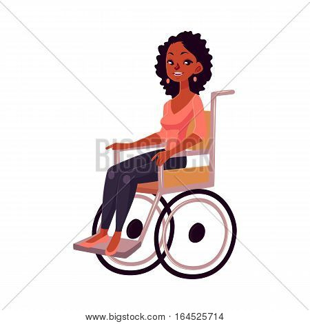 Young black woman sitting in wheelchair, cartoon vector illustration isolated on white background. African American woman sitting in wheelchair, living with disability, equal opportunities concept