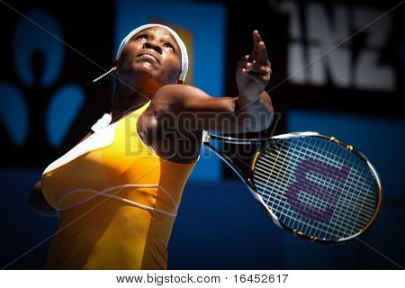 MELBOURNE, AUSTRALIA - JANUARY 23: Serena Williams on her way to the 2010 Australian Open title. January 23, 2010 in Melbourne, Australia