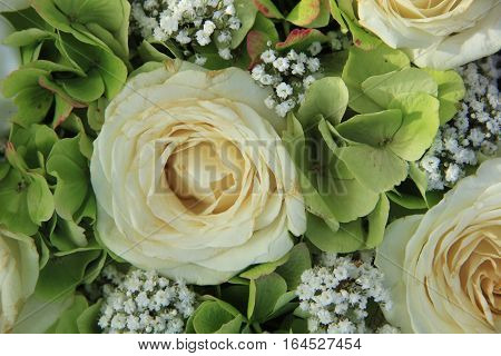 Hydrangea and roses in a white bridal bouquet