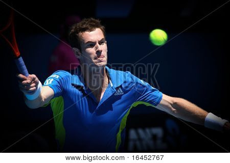 MELBOURNE, AUSTRALIA - JANUARY 24: Andy Murray on his way to the final of the 2010 Australian Open on January 24, 2010 in Melbourne, Australia