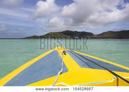 Fast motor boat at the Indian Ocean Seychelles