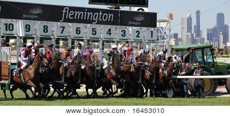 MELBOURNE - 13 de março: Salto de cavalos desde as barracas de partida na qualidade Roy Higgins, vencido por Elmore