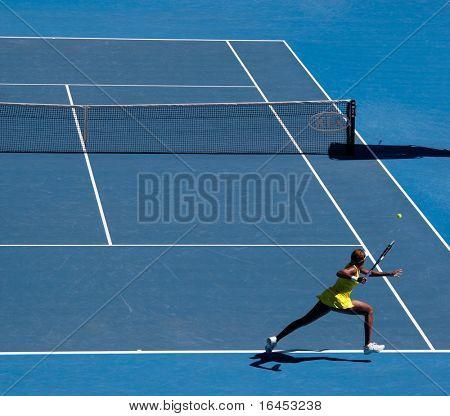 MELBOURNE, AUSTRALIA - JANUARY 23: Venus Williams during her third round match against Casey Dellacqua during the 2010 Australian Open on January 23, 2010 in Melbourne, Australia