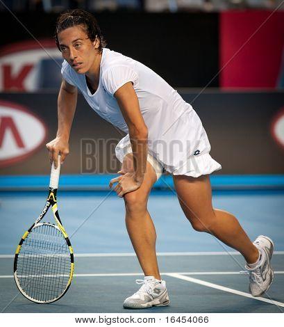 MELBOURNE - JANUARY 23: Francesca Schiavone of Italy in her marathon fourth round win over Svetlana Kuznetsova of Russia in the 2011 Australian Open on January 23, 2011 in Melbourne, Australia