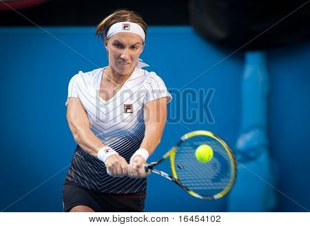 MELBOURNE - JANUARY 23: Svetlana Kuznetsova of Russia in her marathon fourth round loss to Francesca Schiavone of Italy  in the 2011 Australian Open on January 23, 2011 in Melbourne, Australia