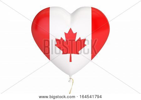 balloon with Canada flag in the shape of heart 3D rendering