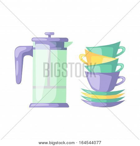 Tableware cup and colorful plastic dishes. Group clean kitchen restaurant equipment. Empty utensil cooking domestic dinner preparation flat vector illustration
