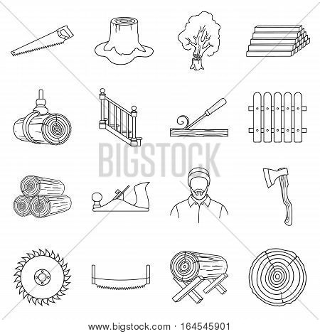 Sawmil and timber set icons in outline style. Big collection sawmill and timber vector symbol stock