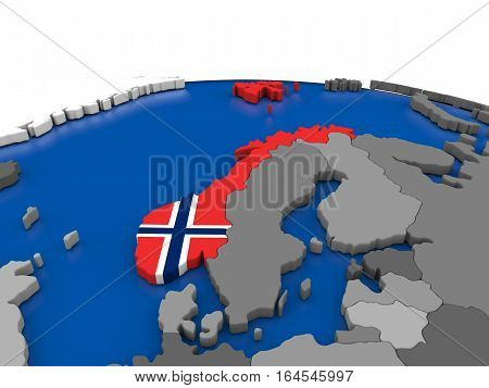 Norway On 3D Globe