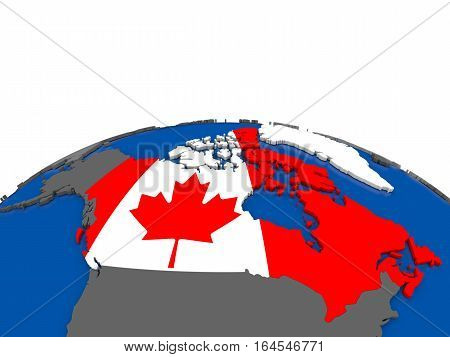 Canada On 3D Globe