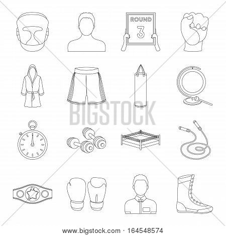 Boxing set icons in outline design. Big collection of boxing vector symbol stock illustration
