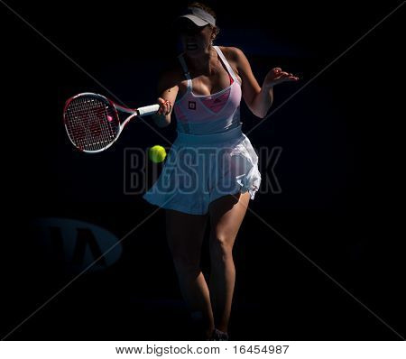 MELBOURNE - JANUARY 27: Caroline  Wozniacki of Denmark in her semi final loss to Li Na of China in the 2011 Australian Open on January 27, 2011 in Melbourne, Australia
