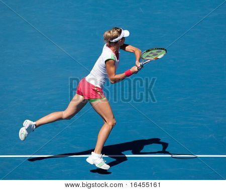 MELBOURNE, AUSTRALIA - JANUARY 28: Maria Kirilenko of Russia in the women's doubles final of the Australian Open on January 28, 2011 in Melbourne, Aus