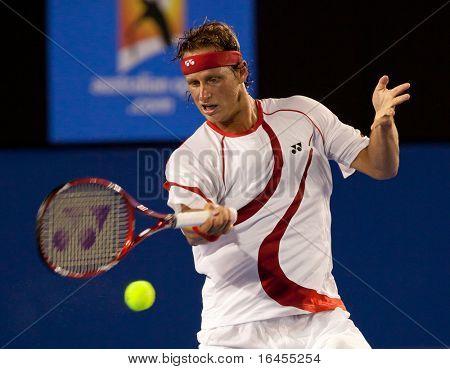 MELBOURNE - Januar: David Nalbandian Argentinien in seiner ersten Runde Sieg gegen Lleyton Hewitt von