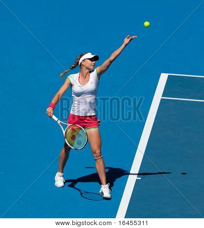 MELBOURNE, AUSTRALIA - JANUARY 28: Maria Kirilenko of Russia in the women's doubles final  at the Australian Open on January 28, 2011 in Melbourne, Aus