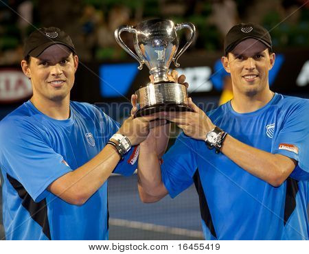 MELBOURNE - JANUARY 29: Bob Bryan and Mike Bryan of the United States of America pose after winning the men's doubles final of the 2011 Australian Open on January 29, 2011 in Melbourne, Australia