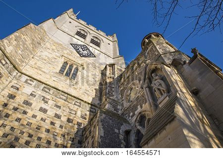 A view of the historic Waltham Abbey Church in Waltham Abbey Essex. A statue of King Harold II can be seen on the facade of the church - King Harold II died at the Battle of Hastings in 1066 and is said to be buried in the churchyard.