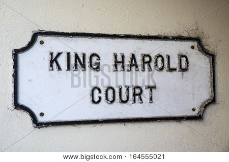 A sign for King Harold court in Waltham Abbey Essex. King Harold has historic connections with Waltham Abbey as he is said to be buried in the towns churchyard.