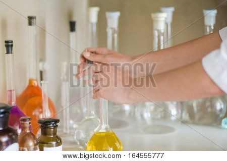 chemical laboratory. analysis. titration.quality control tests. classic method of sampling