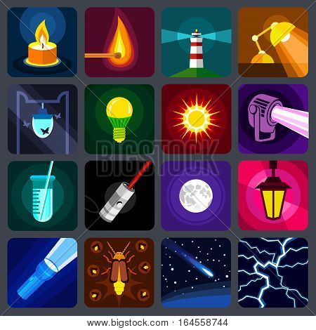 light source icons set. Flat illustration of 16 light source items vector icons for web