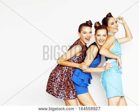 many girlfriends hugging celebration on white background, smiling talking chat, girl next door close up wondering sweety group, lifestyle people