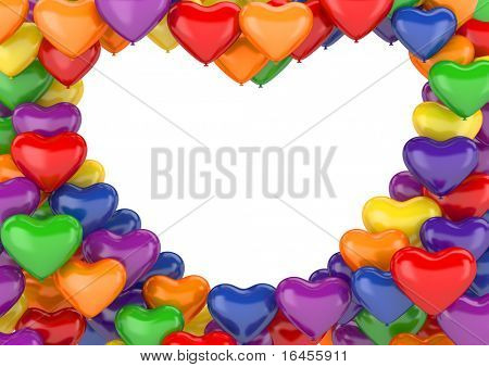 Heart balloons background (love, valentine day series; 3d isolated characters)