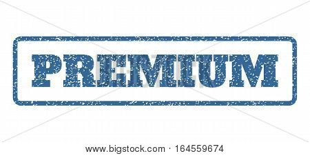 Cobalt Blue rubber seal stamp with Premium text. Vector caption inside rounded rectangular banner. Grunge design and scratched texture for watermark labels. Horisontal emblem on a white background.