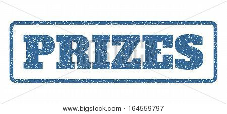 Cobalt Blue rubber seal stamp with Prizes text. Vector message inside rounded rectangular banner. Grunge design and unclean texture for watermark labels. Horisontal sign on a white background.