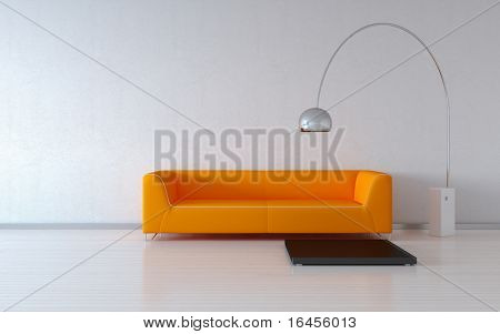Cosy orange couch by the wall (3d minimalism HQ interiors with copy spaces series)