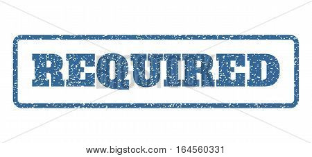 Cobalt Blue rubber seal stamp with Required text. Vector caption inside rounded rectangular banner. Grunge design and dust texture for watermark labels. Horisontal emblem on a white background.