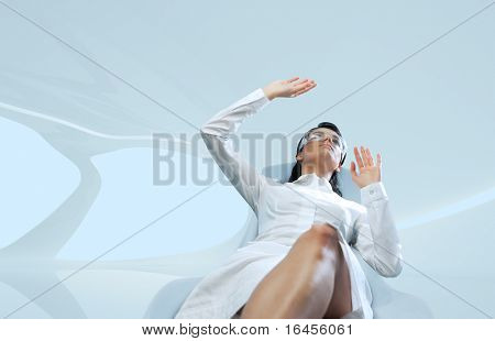Brunette wearing white suit interface template (Attractive young adults in futuristic interiors templates series)