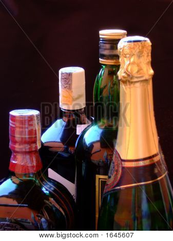 Wine, Whiskey, And Champagne Bottles