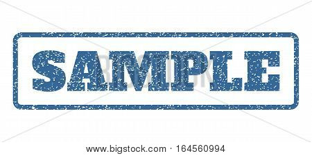Cobalt Blue rubber seal stamp with Sample text. Vector caption inside rounded rectangular shape. Grunge design and dirty texture for watermark labels. Horisontal sticker on a white background.