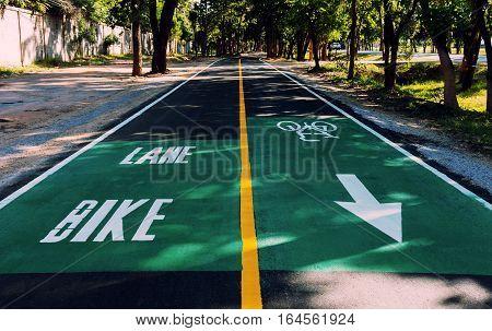 clean new bike lane along road near city