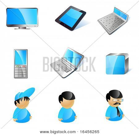 Vector 9 stylish blue technology icons. LCD monitor, e-book reader (pad), calculator, mobile phone, laptop, cube, avatars: boy, user, manager.