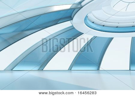 Future style interior. Dome, penthouse, roof floor. Stripy wall gathering in the central round top window. Empty space, nobody there. To use as high quality background for isolated people and objects.