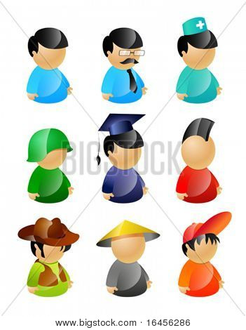 9 vector characters pack: standard, manager, nurse, soldier, graduating student, mohawk punk, cowboy in stetson hat, asian, teenager in cap (recommended as avatars)