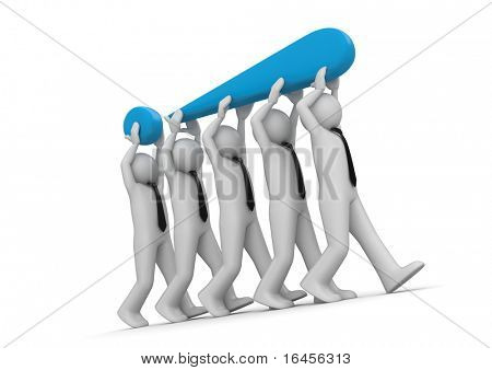 Businessmen carrying exclamation mark. Concept: solution of hard issue in business. Business collection.