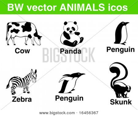 6 b/w vector animals icons. Panda, cow, penguin, zebra, skunk in fancy poses.
